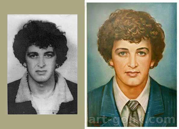 цветной портрет с черно-белой фотографии