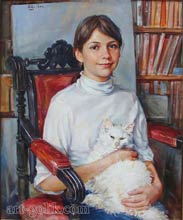 girl with a favorite cat